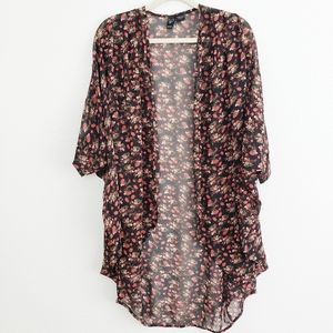 Windsor Rose Print Black long Kimono